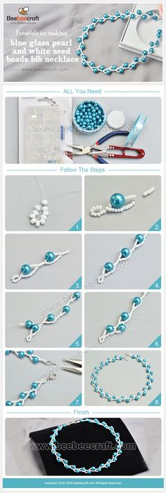 bisuteria jewelry DIY collares mostacillas perlas azul blanco necklaces handmade tutoriale como hacer how to make imitation jewelry DIY necklaces beads beads blue white necklaces handmade tutoriale how to make how to make Diy Jewelry Rings, Diy Jewelry Unique, Diy Jewelry To Sell, Diy Jewelry Necklace, Bead Jewellery, Diy Jewelry Making, Handmade Necklaces, Jewelry Crafts, Soutache Jewelry
