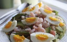 Salat med spidskål rejer æg og avocado #lchf
