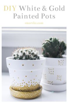Painting your own pots is so easy and fun to do, especially with paint markers! I came up with four different designs to give you inspiration for painting your own pots. The metallic gold makes pots look very chic and its so fun to make trendy designs. Visit my blog to find out how to paint your own pots! #DIY #crafts #painting #plants #garden #gardening #plant #pots #planters #paintedpots #ceramicpots #design #crafting #easyDIY #DIYideas #DIYcrafts #art
