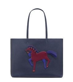 Navy leather equestrian bag.