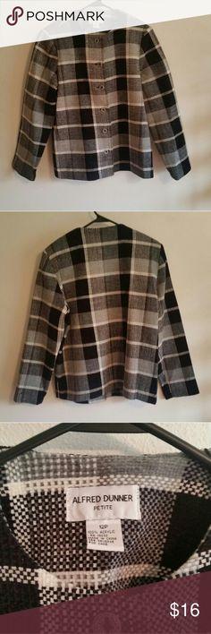 "Alfred dunner 12p petite size coat Measurements  Shoulder to shoulder 16"" Shoulder to sleeve 23"" Length 24.5"" Bust 43""  Some shpulder padding   100%acrylic Alfred Dunner Jackets & Coats Blazers"