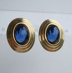 Sapphire Blue Moonglow Lucite Cabochon Pierced Earrings Vintage Jewelry