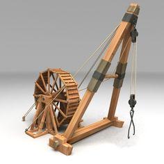 Wood Roman Crane 3D Model - 3D Model