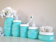 Painted Mason Jars Home Decor Bathroom Decor Bathroom Oh my gosh I'm gonna do this. All matching. And I like having the metal band painted and used as an accent without the lid being on. I have sooo many of these!!