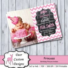 Princess Pink Chevron & Glitter Birthday Invitation ANY First Birthday Party Themes, Diy Birthday, Birthday Cards, Digital Invitations, Birthday Invitations, Glitter Birthday, Birthday Pictures, Invitation Design, Invite