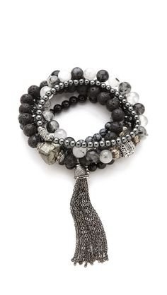 Lacey Ryan Wisdom Bracelet Set. Dark stones of jasper and onyx mix with pewter and pyrite