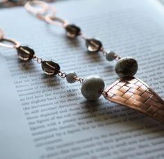 Tikal  Smoky Quartz Gray and Copper Necklace by SimonandRuby, $120.00