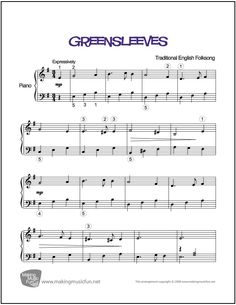 Greensleeves | Sheet Music for Piano (Digital Print) http://makingmusicfun.net/htm/f_printit_free_printable_sheet_music/greensleeves.htm