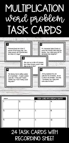 Multiplication Task Cards - Word problem practice for math centers, independent practice, or skill review - 24 task cards with a recording sheet Math Activities, Teaching Resources, Math Words, Word Problems, Multiplication, Education Quotes, Task Cards, Math Centers, Times Tables