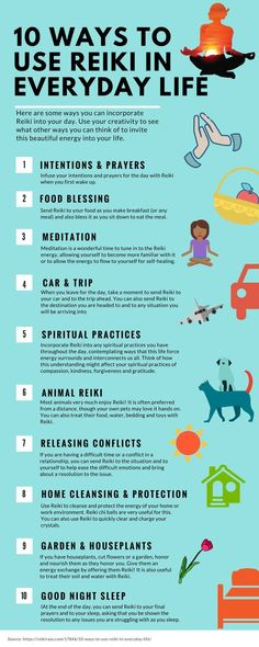 This infographic can easily show how to implement reiki into your every day life. chances are you can use reiki energy healing techniques in more ways than you realized, and these are some great ideas on how to do so! Reiki Meditation, Jikiden Reiki, Chakras Reiki, Usui Reiki, Reiki Room, Reiki Healer, Meditation Symbols, Meditation Images, Mindfulness Meditation