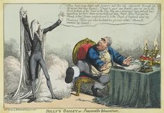 """Billy's Ghost, or, Seasonable Admonition"", by Charles Williams, 1806. Pitt comes back to haunt Fox: ""Thou hast now stept into power; and tho' my opponent through life, let me give thee this Council - Trust to your own powers - give no ear to the blood-suckers of the Court or the City... Raise John Bull and his Family to their former comforts, and be to the People of England what my Illustrious Father was when he closed his glorious career - Farewell, remember my Council."""