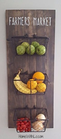 Creative fruit and vegetable storage ideas. creative fruit and vegetable storage ideas rustic kitchen decor, kitchen wall decorations, home decorations Rustic Kitchen Decor, Farmhouse Decor, Farmhouse Style, Country Kitchen, Farmhouse Baskets, Kitchen Wall Decorations, Wall Decor For Kitchen, Fruit Kitchen Decor, Rustic Kitchens