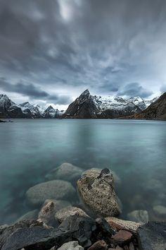 REPIN.   Olstinden Lofoten - Johnny Myreng Henriksen Photography  #seascape  #norway #snow