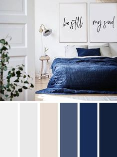 Best Living Room Color Schemes Idea [To Date] navy blue and neutral bedroom color palette Blue Bedroom Colors, Dark Blue Bedrooms, Bedroom Colour Palette, Bedroom Colour Schemes Neutral, Navy Bedrooms, Neutral Color Palettes, Navy Blue And Grey Living Room, Colour Palette 2018, Blue And White Bedding