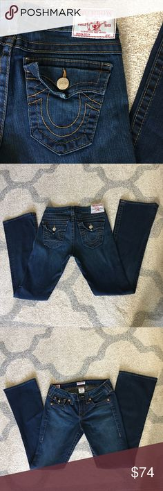 True Religion Becky Size 27 Petite Jeans are in excellent condition with little to no visible signs of wear. The bootcut style is universally flattering and a classic fit that never goes out of style! True Religion Jeans Boot Cut