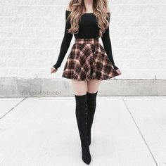 36 schicke Herbst-Outfit-Ideen, die Sie lieben werden 36 chic fall outfit ideas that you'll love – – Teenage Outfits, Teen Fashion Outfits, Mode Outfits, Look Fashion, Korean Fashion, Autumn Fashion, Fashion Dresses, Holiday Fashion, Cheap Fashion