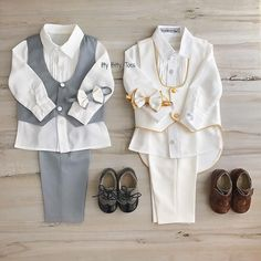 If you had to pick one, Gray or gold? 👇 William Vest Set with matching shoes 👞 In stock and ready to ship 📦 Click the link in bio to shop 💳 Worldwide Delivery 🌎ittybittytoes Little Dresses, Nice Dresses, Toddler Boys, Kids Boys, Boys Dress Clothes, Boys Formal Wear, White Bow Tie, Boys Suits, Pick One
