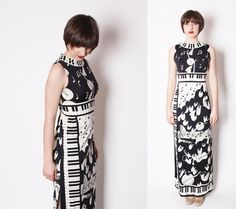Paganne Vintage 1960s Mod Black and White Long Maxi by aiseirigh, $285.00