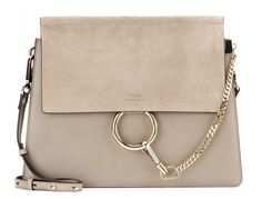 chic Chloé Faye leather and suede crossbody bag | cool silver/grey | timeless | elegant | suede front flap | gold metal ring & chain | Purse Blog