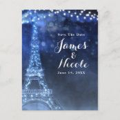 Night in Paris Eiffel Tower & Lights Save the Date Announcement Postcard | Zazzle.com Eiffel Tower Lights, Paris Eiffel Tower, School Events, Save The Date Postcards, Postcard Size, Paper Texture, Smudging, Announcement