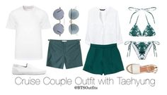 Cruise Couple Outfits: Taehyung by btsoutfits on Polyvore featuring polyvore fashion style Zara Mara Hoffman Ray-Ban Versace Orlebar Brown Topman Thom Browne clothing