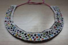 collar de cuentas y ganchillo / crochet & beads collar #naturadmc