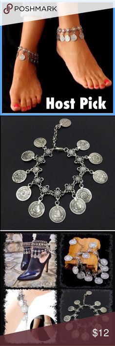 "(M2) Boho Ankle Bracelet Pretty antique silver color. Made to look vintage! Such a cute anklet. Listing is for one anklet. Price dropped from $18 so get them while they are on sale! This can clasp anywhere from 8-11"". New in package. Jewelry"