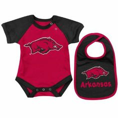 db435df9c NCAA Unisex Infant/Toddler Arkansas Razorbacks Infant Derby Onesie & Bib Set  (Cardinal,