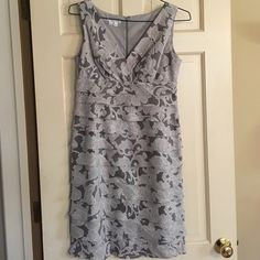 Floral Jacquered Pleated Ruching Dress Shimmering fabric, beautiful floral print, two gray colors and white, pleated ruching, v-neck! Super flattering! Excellent condition London Fog Dresses Prom