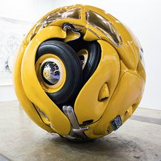 The Beetle Sphere: An Actual 1953 VW Beetle Formed into a Perfect Sphere by Ichwan Noor