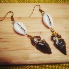 Peace of Junk LLC   ♻ www.peaceofjunk.com ❤  $20  #Cowrie #Apache #Tear #Earrings #wrapped  #Art&#Jewelry&Activism #worldPeace #upcycle#recycle #Create the movement through your eyes, your art!