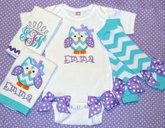 Girly Owl Baby Gift Set Lavender and Turquoise by sunfirecreative