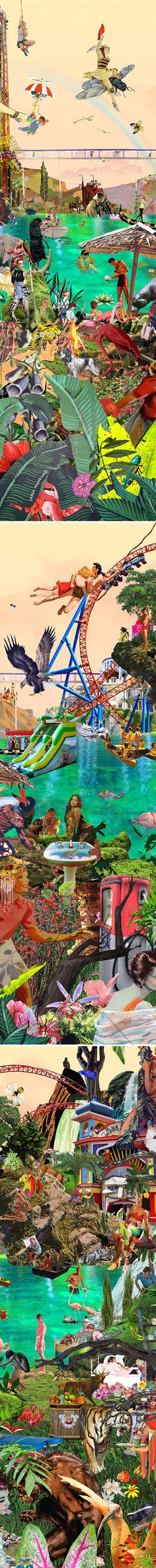 """details of """"jungle"""" a large-scale collage by sandra anderlon <3"""