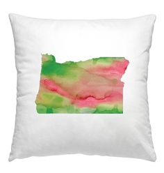 Oregon watercolor pillow in pink and green