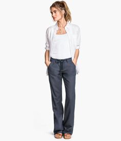 Manage your expectations with all things linen...try them on  for half an hour and then see how they look...you don't want lots of creases at the top of your thigh!