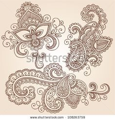 Hand-Drawn Henna Paisley Flowers Mehndi Doodles Abstract Floral Vector Illustration Design Elements - stock vector