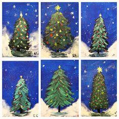 Art Room Britt: Christmas Tree in Acrylic Techniques