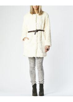 Woven coat fancy faux fur ivory