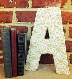 do it yourself lace covered letter decor