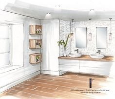 Home Decoration With Flowers Info: 8201646438 Interior Design Renderings, Drawing Interior, Interior Rendering, Interior Sketch, Interior Architecture, Washbasin Design, Architecture Concept Drawings, Tile Layout, Bathroom Interior