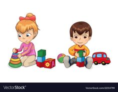 Playful children with toys vector image on VectorStock Cute Doodle Art, Cute Doodles, Cartoon Faces, Cartoon Kids, Good Habits For Kids, School Painting, Interior Design Sketches, Kids Education, Animals For Kids