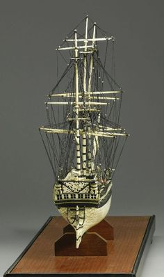 This model of a ship was made of human and animal bones by French war prisoners captured by the Britons during the wars with Napoleon. Bones were taken from pork and mutton the French prisoners had. Model Sailing Ships, Model Ships, British Navy Ships, Animal Bones, Wooden Ship, Prisoners Of War, Bone Carving, Wooden Boats, Tall Ships