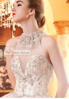 Retail and wholesale Stunning Beaded Crystal Sequin Semi Transparent Back Wedding Dresses | Crystal Wedding Dresses