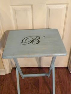 Tv Tray Table Revamp Maybe I Could Do One With My Initial And The Others