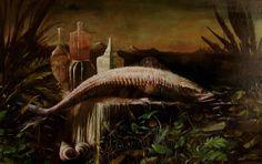 """""""Apophis""""  oil on wood 215x125  Milan2005"""