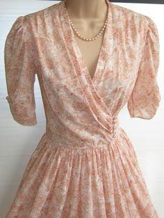 Peach dress, button waist