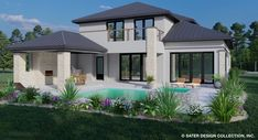 Rear Elevation of the Stonehurst House Plan | Home Plan | Modern House Plans Square House Plans, Open Floor House Plans, Two Story House Plans, Duplex House Plans, Modern House Plans, Floor Plans, Built In Grill, Contemporary Style Homes, Floor To Ceiling Windows