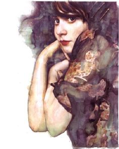 Lovely portrait of Zooey Deschanel, not sure who the artist is, but great work