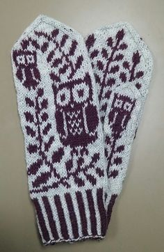 Free knitting pattern for Grey Eyed Owl Mittens -   Rebecca Tsai's mittens feature owls and olive branches, symbols of Athena, in stranded colorwork