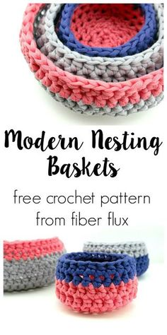Modern Nesting Baskets free crochet pattern full video tutorial on Fiber Flux Crochet Bowl, Crochet Basket Pattern, Quick Crochet, Crochet Hooks, Free Crochet, Crochet Baskets, Crochet Basket Tutorial, Crochet Storage, Cotton Cord